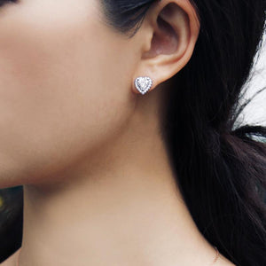 Cora Heart Studs in White