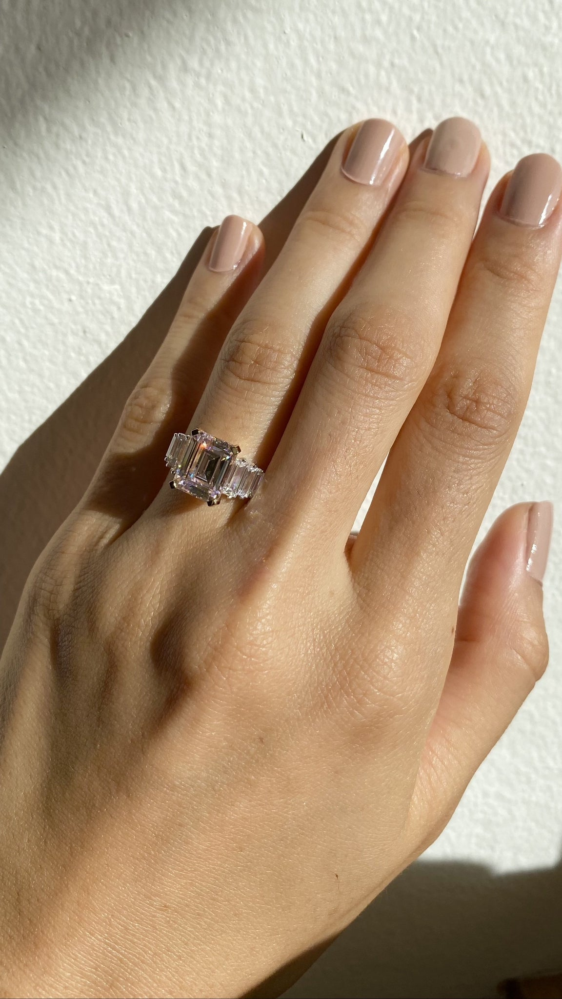 Isla Light Pink Emerald Trilogy Ring