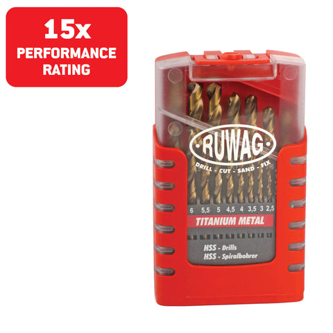 Ruwag 19 Piece Titanium Metal HSS Drill Set