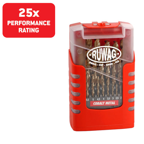 Ruwag 25 Piece Cobalt Metal HSS Drill Set