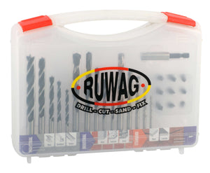 Ruwag 25 Piece Industrial Metal, Masonry, Wood & Power Bit Drill Set