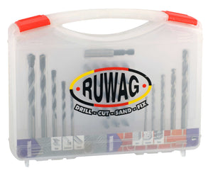 Ruwag 35 Piece Industrial Metal, Masonry & Power Bit Drill Set