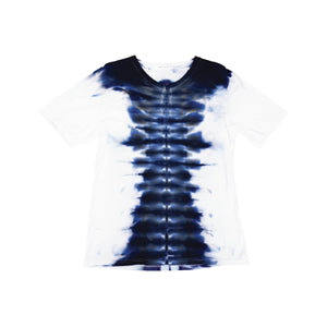 Shibori Tie Dye T-Shirt, Mens | Hush Brand Apparel | Babel, Blue on White, side angle view