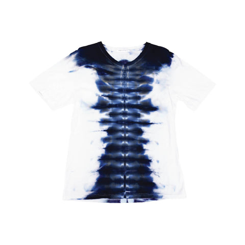 Shibori Tie Dye T-Shirt, Mens | Hush Brand Apparel | Babel, Blue on White, front view