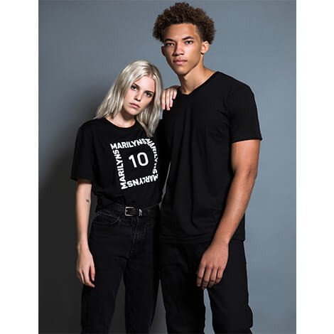 Plain V-Neck T-Shirt, Men's, Black | Hush Brand Apparel | blonde young female model standing next to young man, both looking into camera