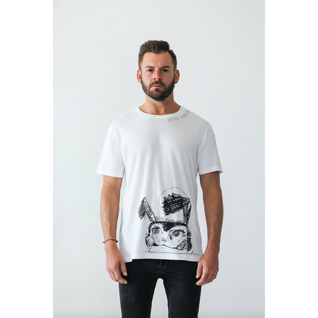 T-Shirt, Men's, White | Hush Brand Apparel | , view of back of white shirt with small Hush Brand logo in black, just below back collar