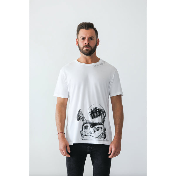 Icebreaker Collection T-Shirt, Men's, White | Hush Brand Apparel | BON APPETIT, bearded young man wearing t-shirt with black ink rough sketch of crazed looking bunny along bottom edge of shirt, bon appetit written along right collar - facing camera