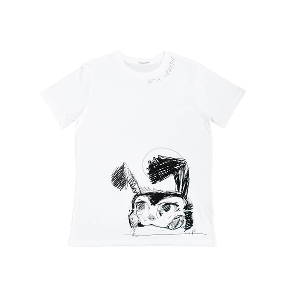 Icebreaker Collection T-Shirt, Men's, White | Hush Brand Apparel | BON APPETIT, black ink rough sketch of crazed looking bunny along bottom edge of shirt, bon appetit written along right collar - front view