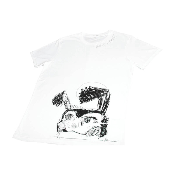 Icebreaker Collection T-Shirt, Men's, White | Hush Brand Apparel | BON APPETIT, close up of black ink rough sketch of crazed looking bunny along bottom edge of shirt, bon appetit written along right collar - front view