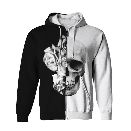 Black & White Skull Zip Up Hoodie