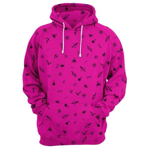Cool Patterned Hoodie In Pink