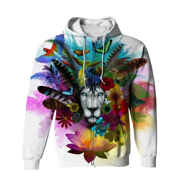 Flowers Lion Zip Up Hoodie