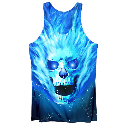 BLUE FLAMED SKULL TANK TOP