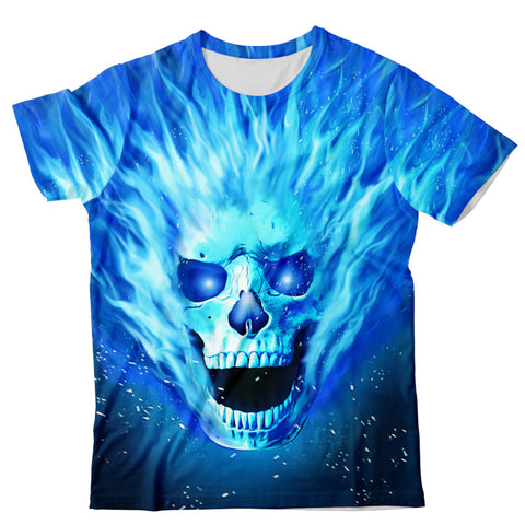 Blue Flamed Skull T-Shirt