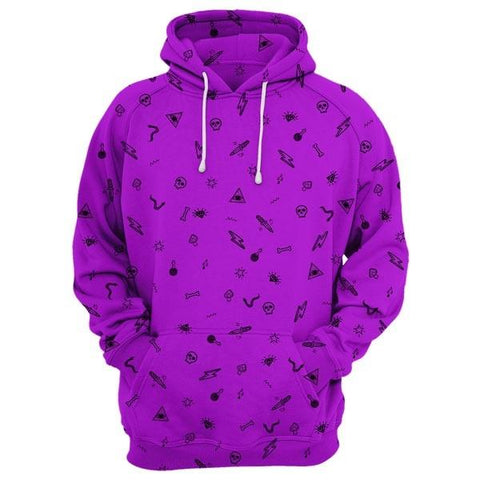 Cool Patterned Hoodie In Purple