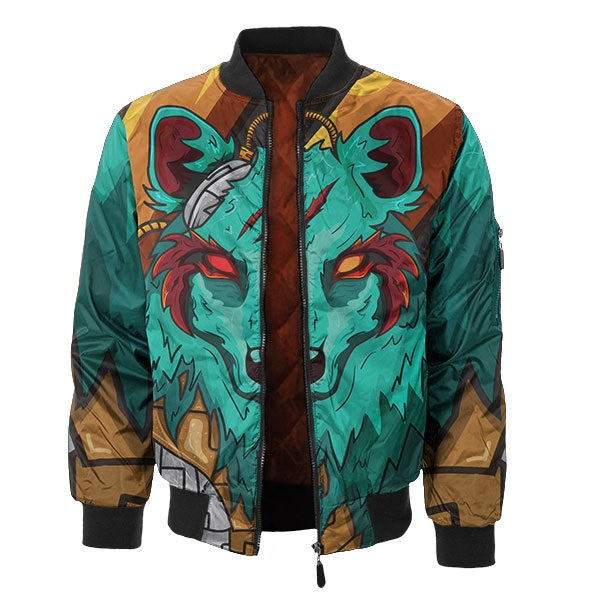 The Green Elite Wolf Bomber Jacket