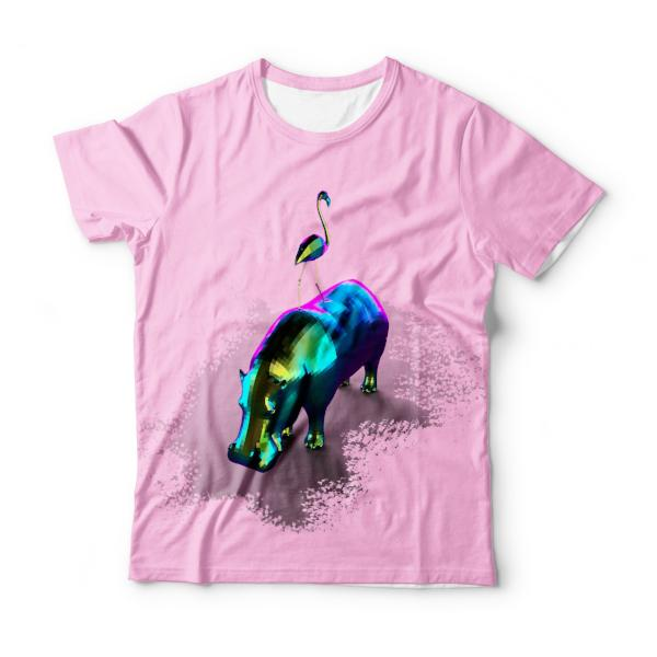 Hippo and Flamingo T-Shirt