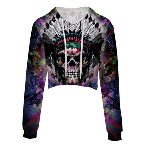 Magic Skull Cropped Hoodie