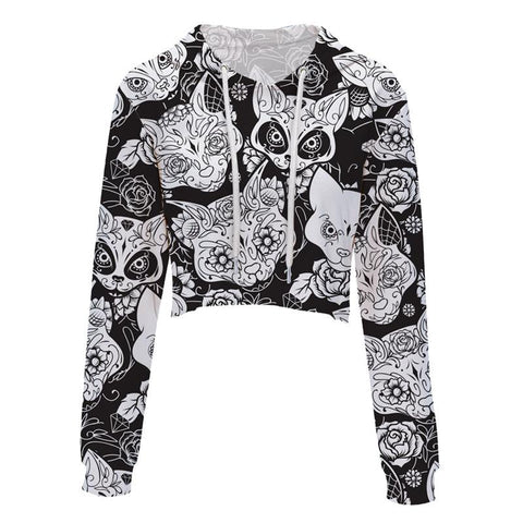 Angry Cats Cropped Hoodie