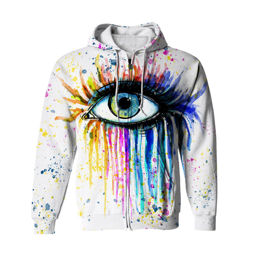Watercolor Eye Zip Up Hoodie