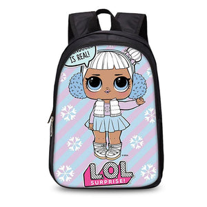 LOL Surprise Girls Cute 3D Backpack Blue and Purple School Bag