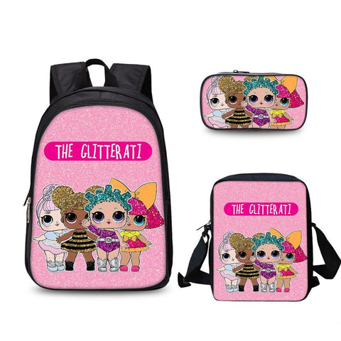 LOL Surprise 3D School Backpack Messenger Bag And Pencil Case 3 In 1 for Girls