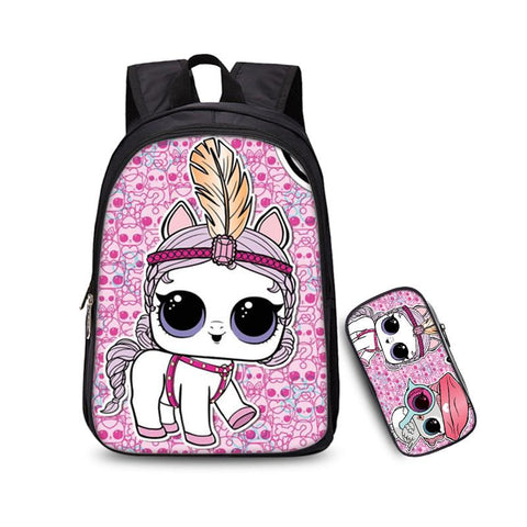 New Version 2019 LOL Surprise 3D Print Girls Backpack and Pencil Case for School