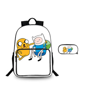 2019 Adventure Time With Finn And Jake Series Large Backpack And Pencil Case 2 in 1