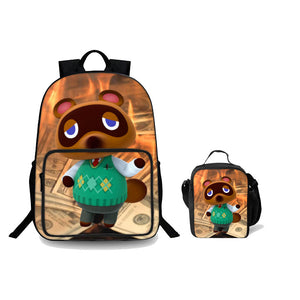 2019 Animal Crossing New Horizons Series Kids 18 Inch Backpack And Lunch Bag 2 in 1