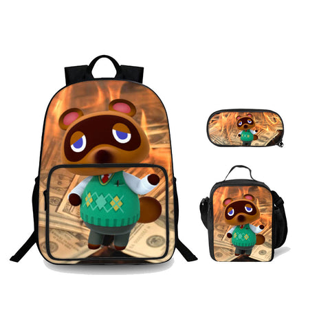 2019 Animal Crossing New Horizons Series Kids 3D Backpack Lunch Bag And Pencil Case Bundle 3 In 1