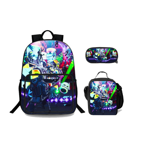 2019 Backtoschool Fortnite Marshmello Let`s Party Kids 18 Inch Oxford Backpack Lunch Bag And Pencil Case 3 in 1