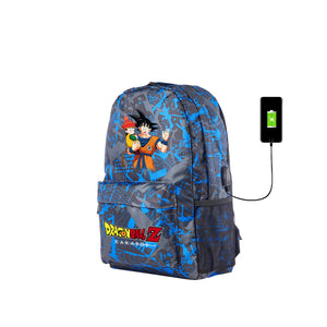 2019 Dragon Ball Z Goku Kakarot Series Youth Blue Graffiti Backpack for School 17 Inch With USB Charging Port