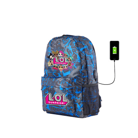 2019 Durable LOL Surprise Series Youth Blue Graffiti Backpack for School 17 Inch With USB Charging Port