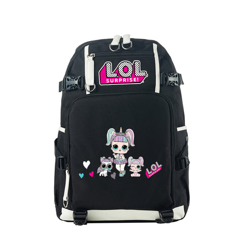 2019 LOL Surprise Theme Girls Black Backpack for School 17 Inch