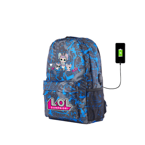 2019 New LOL Surprise Three Cute Cartoon Characters Kids Blue Graffiti Backpack for School 17 Inch With USB Charging Port