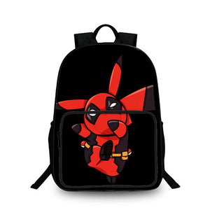 2019 Pokémon Pikachu Cos Deadpool 3D Large Capacity Backpack for School 18 Inch