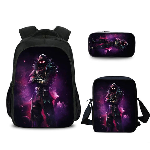 2019 Raven Fortnite Pattern Boys 16 Inch Backpack Messenger Bag And Pencil Case Bundle 3 In 1