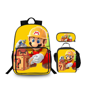 Backtoschool Super Mario Maker 2 Kids Stylish Yellow Oxford Backpack Lunch Bag And Pencil Case Bundle 3 In 1