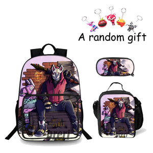 Battle Royale Fortnite Drift 3D Boys School Backpack 18 Inch Lunch Bag And Pencil Case Bundle 3 In 1