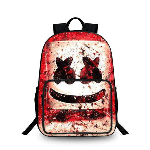DJ Marshmello Helmet Red 3D Kids Large Capacity Backpack for School 18 Inch