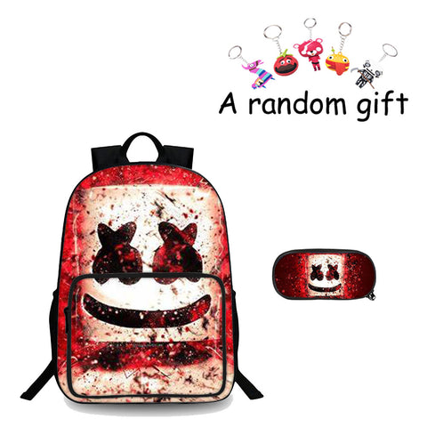 DJ Marshmello Red Boys 3D 18 Inch Backpack And Pencil Case 2 in 1