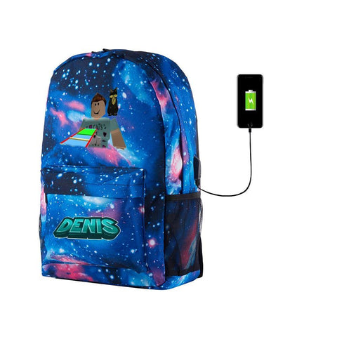 Roblox Denisdaily Multifunction Galaxy School Backpack 17 Inch for College With USB Charging Port