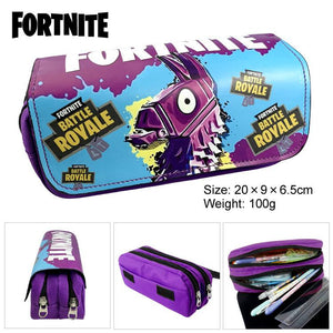 Fortnite Print Pencil Case Large Capacity Double Zipper Pocket for School