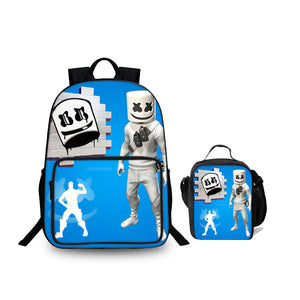 2019 Fortnite DJ Marshmello 3D Blue 18 Inch Backpack And Lunch bag 2 in 1