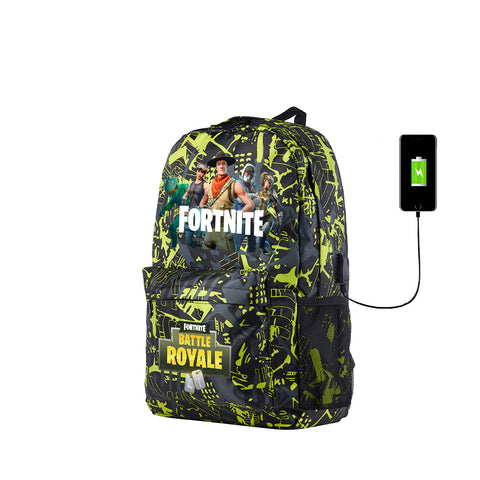 Fortnite 2019 Green Blue Graffiti Galaxy School Backpack With USB Charging Port 17 Inch