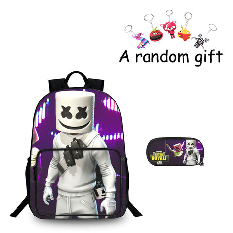 Fortnite Battle Royale DJ Marshmello Boys Girls 3D 18 Inch Backpack And Pencil Case 2 in 1