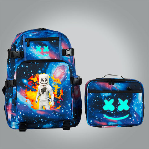 Marshmello School Backpack with Detachable Lunch Bag Glow In Dark
