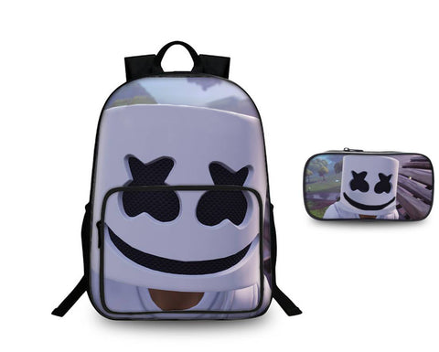 Fortnite Marshmello Graphic White 3D Boys Girls School Backpack And Pencil Case 2 in 1