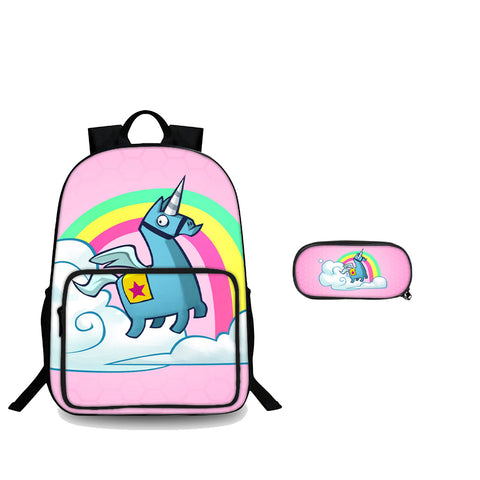 Fortnite Rainbow Llama Unicorn Back To School 3D 18 Inch Backpack And Pencil Case 2 in 1