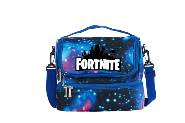 Fortnite White Logo 2019 Two Compartment Galaxy Lunch Bag
